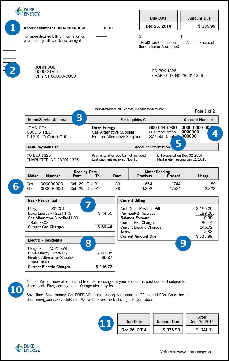 Duke Energy Ohio Sample Bill Page 1